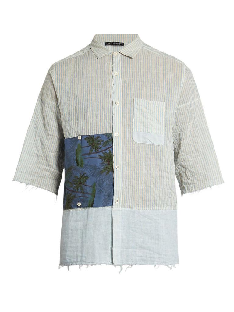 G short-sleeved striped cotton shirt