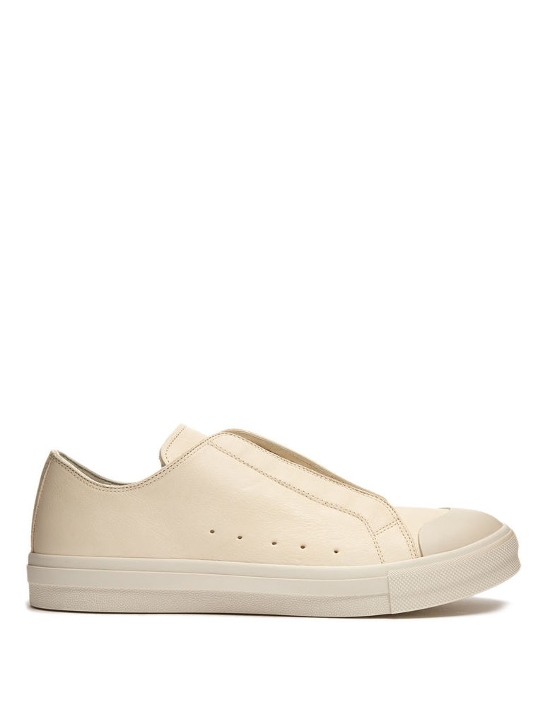Contrast-toe low-top leather trainers