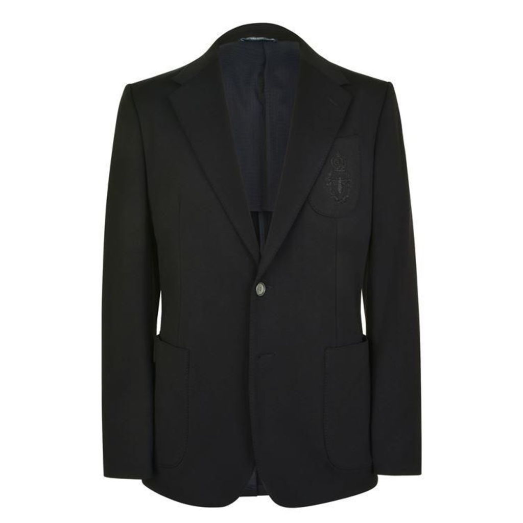DOLCE AND GABBANA Crown Embroidered Jersey Blazer
