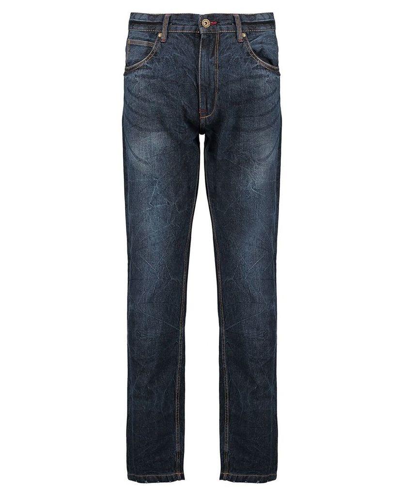 Men's Blue Inc Dark Stone Straight Fit 5 Pocket Denim Jeans, Blue
