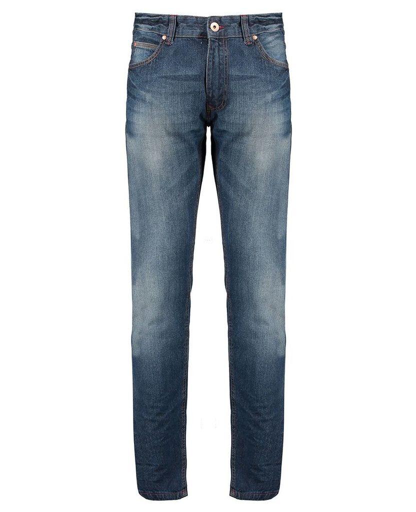 Men's Blue Inc Mid Stone Slim Fit 5 Pocket Denim Jeans, Blue