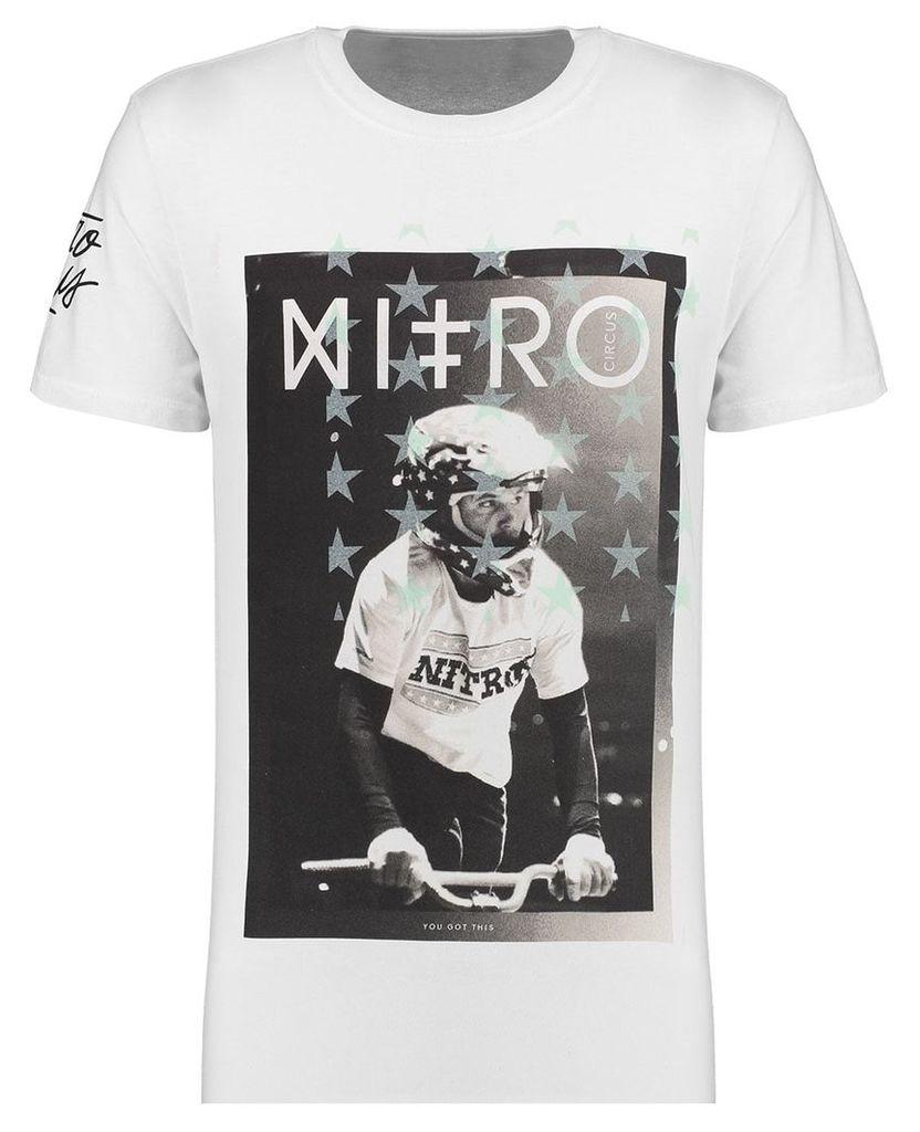 Men's Blue Inc White Short Sleeve Nitro Circus Full Face Printed T-shirt, White