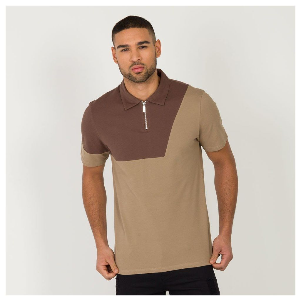 Maniere De Voir; Colour Block Polo Shirt - Brown