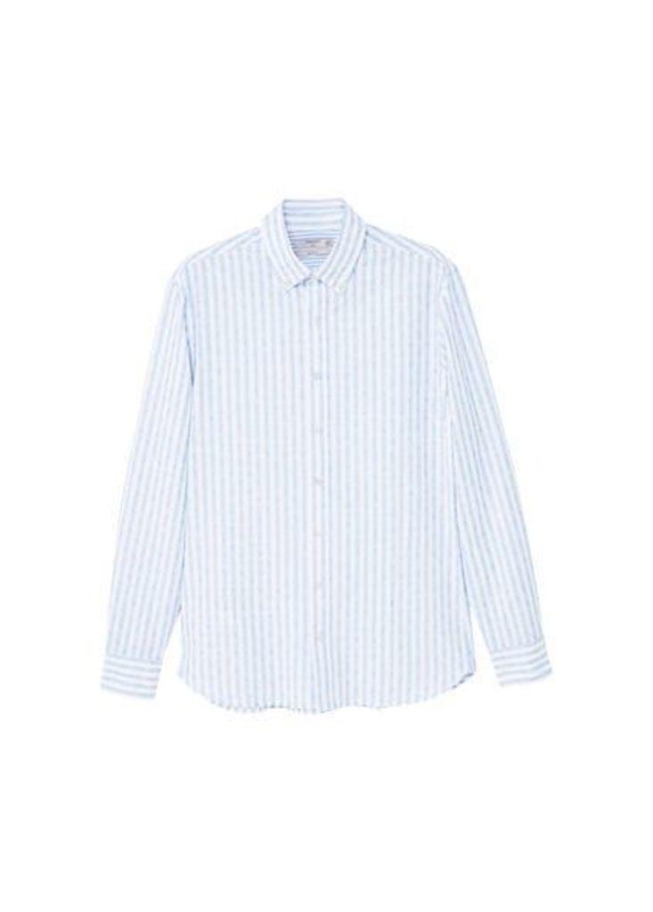 Stripe-pattern cotton shirt