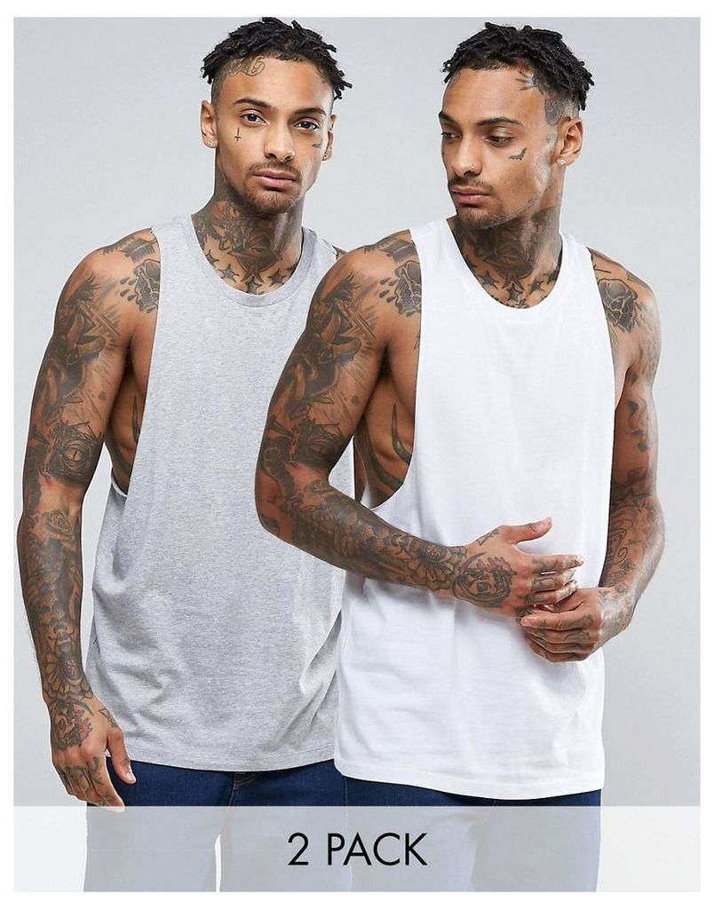 ASOS 2 Pack Vest With Racer Back In White/Grey Marl SAVE - Multi