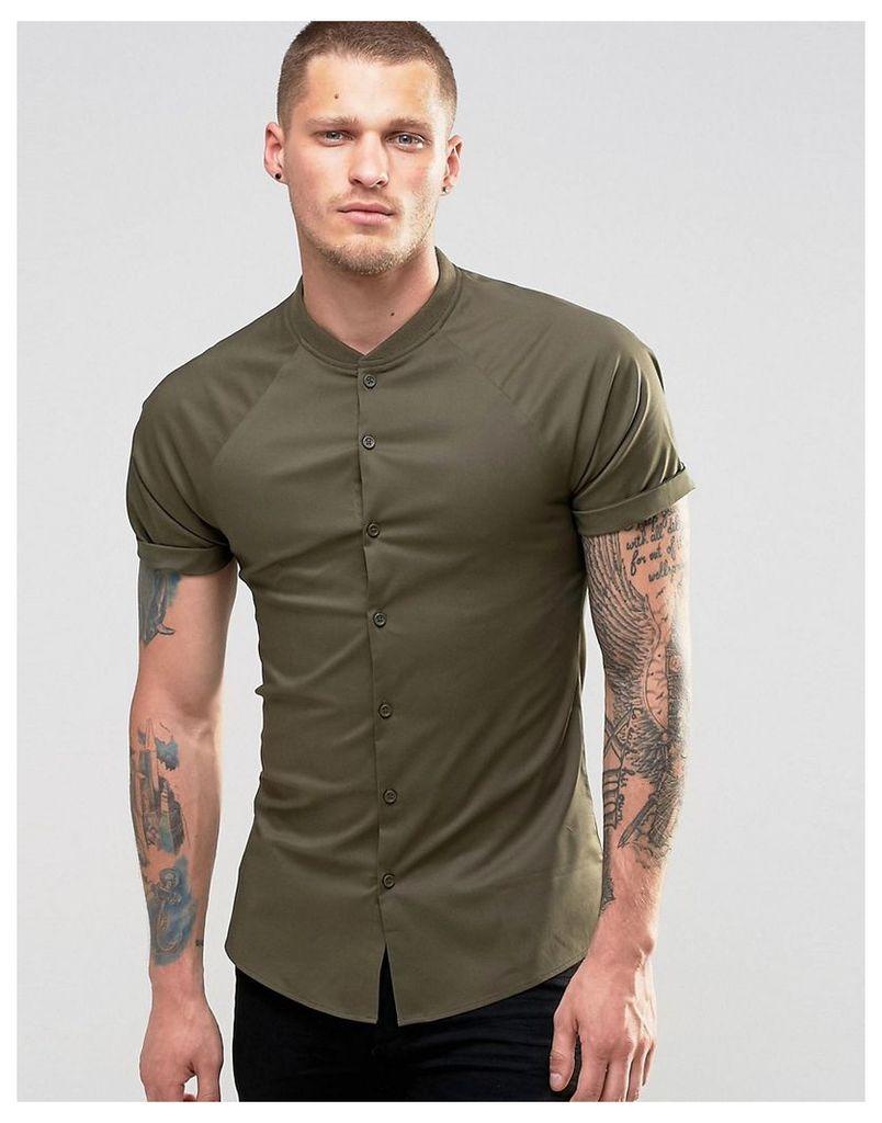 ASOS Skinny Shirt With Raglan Sleeves In Khaki - Khaki