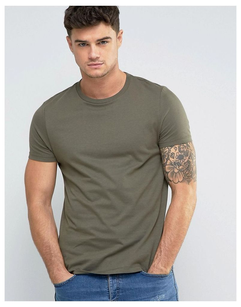 ASOS T-Shirt With Crew Neck In Green - Toad