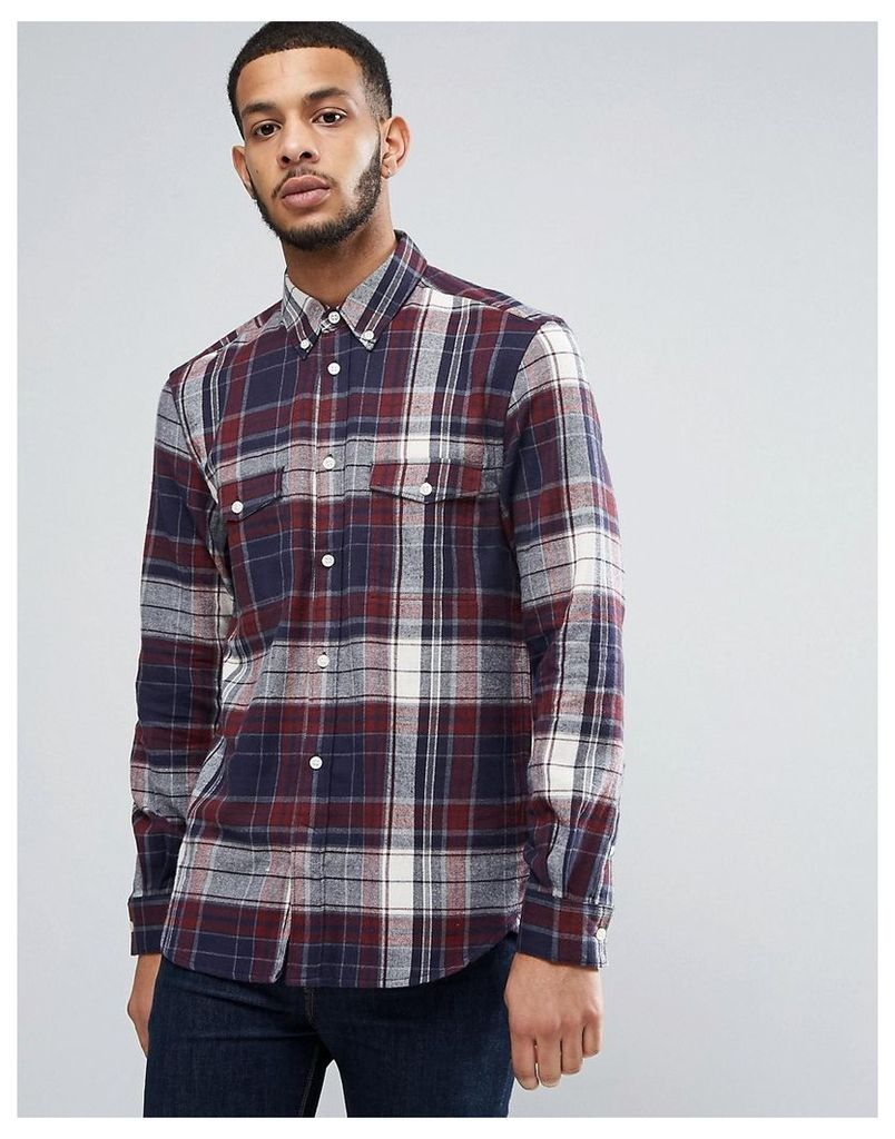 French Connection Flannel Shirt with Double Check Pocket - Red