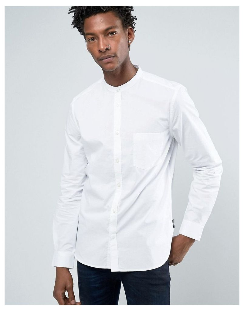 French Connection Grandad Slim Shirt with Pocket in White - White