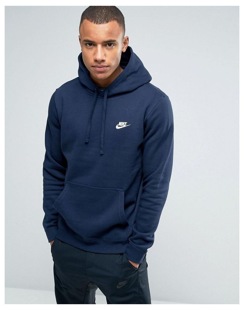 Nike Pullover Hoodie With Swoosh Logo In Blue 804346-451 - Blue