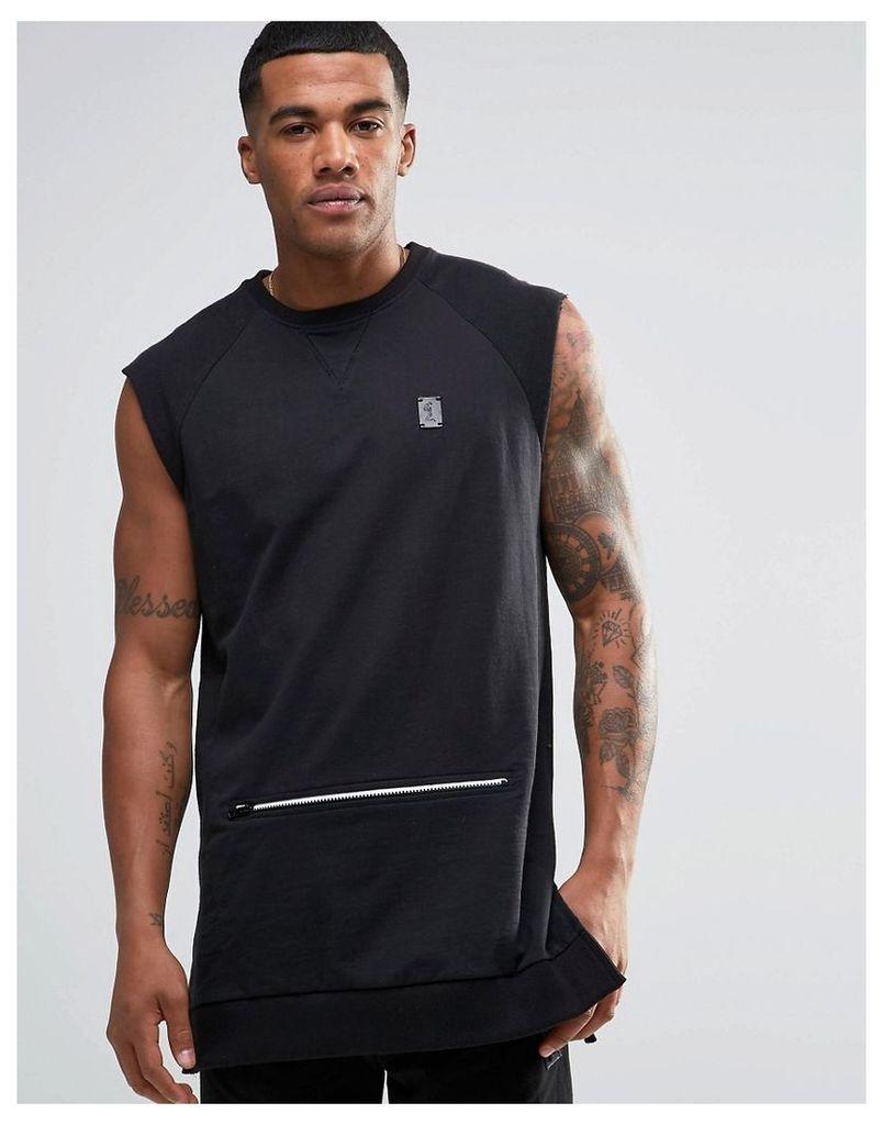 Religion Trail Sleeveless Sweatshirt with Zip Detail Pocket - Black