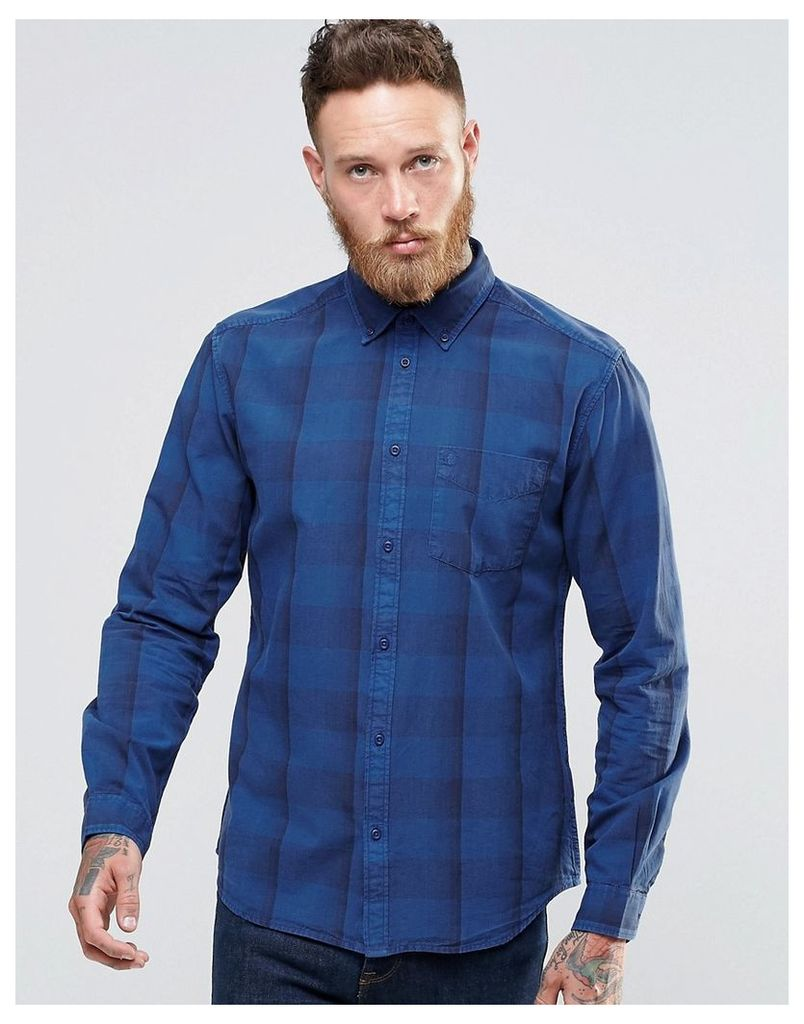 Wrangler Buttondown Shirt in Blue Overdyed Subtle Check - Limoges