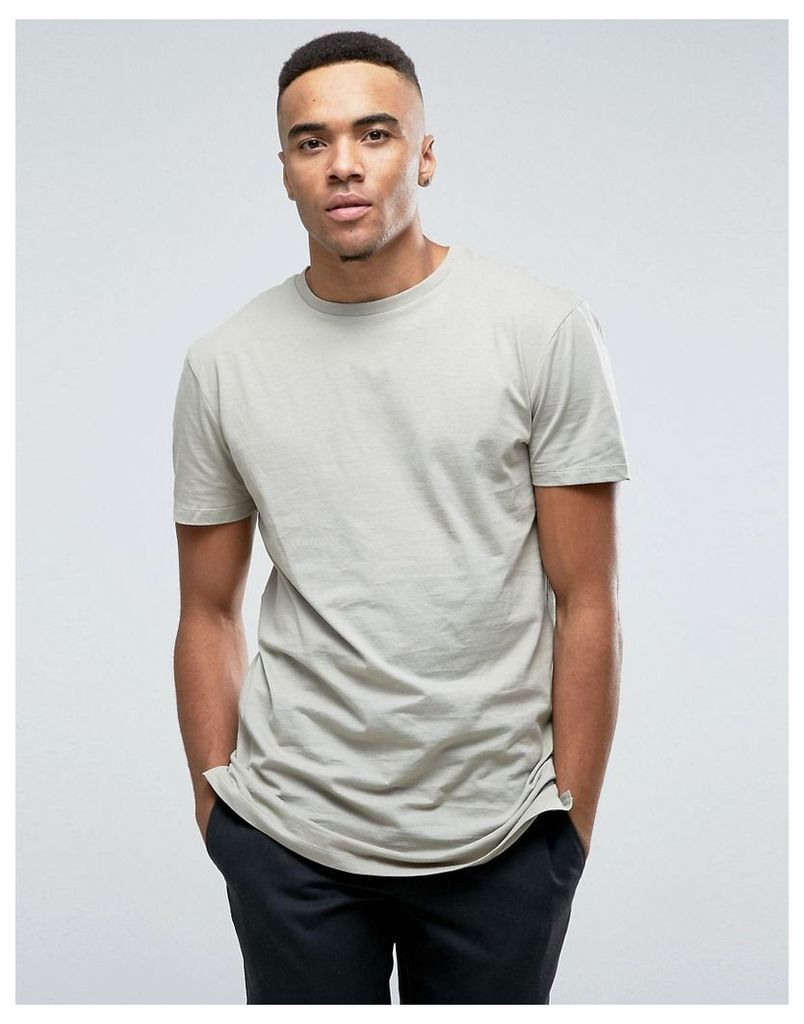 New Look Longline T-Shirt In Light Khaki - Light khaki