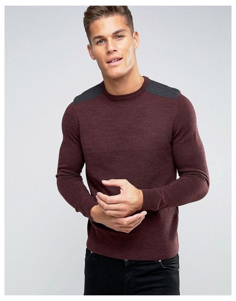 New Look Jumper With Patch Detail In Burgundy - Burgundy