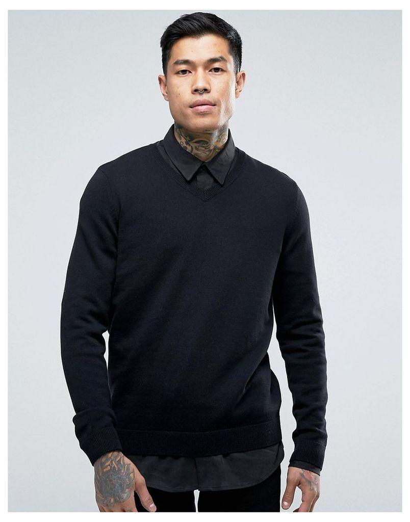 New Look V Neck Jumper In Black - Black