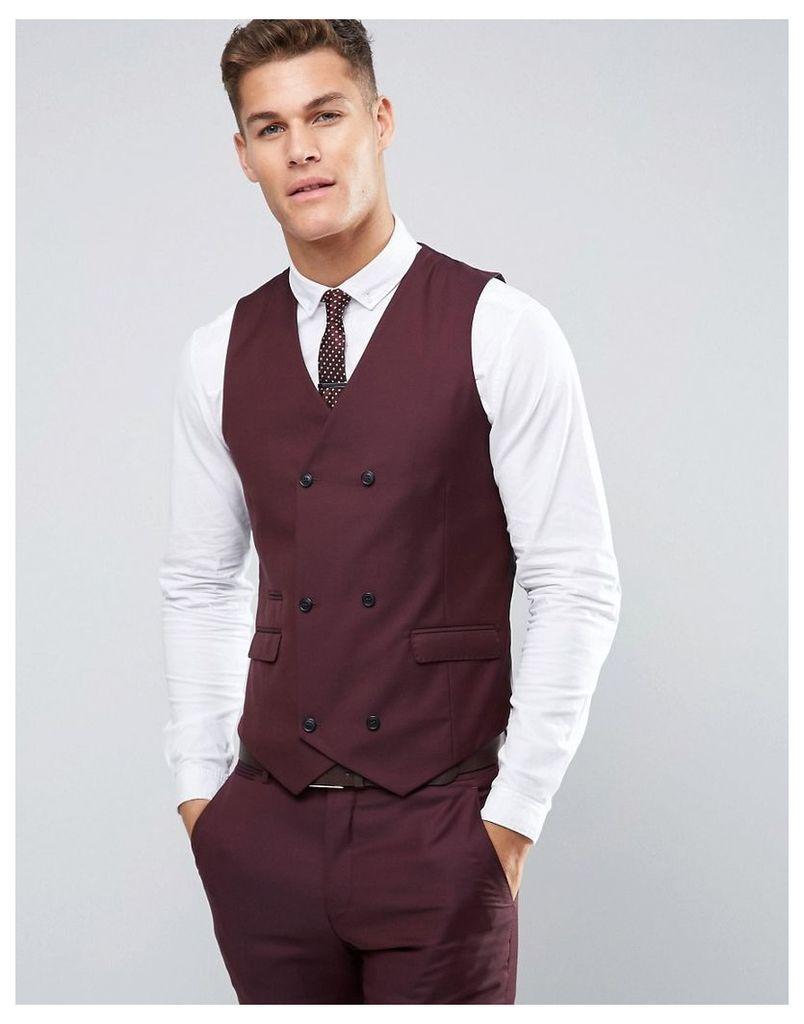 ASOS Skinny Suit Waistcoat in Dark Berry 100% Wool - Purple