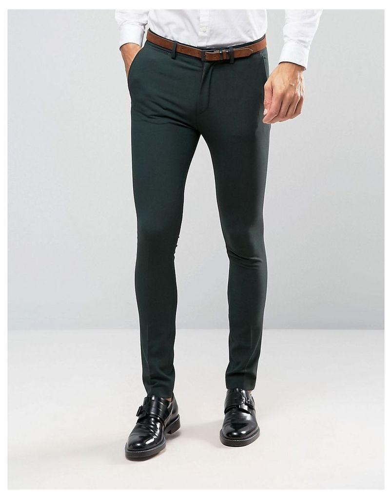 ASOS Super Skinny Suit Trousers In Green - Green