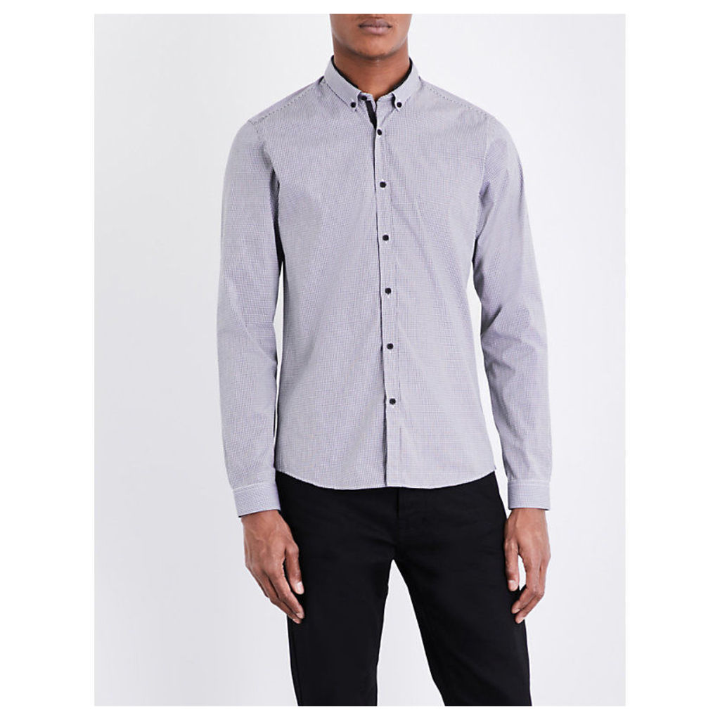Vichy gingham fitted stretch-cotton shirt