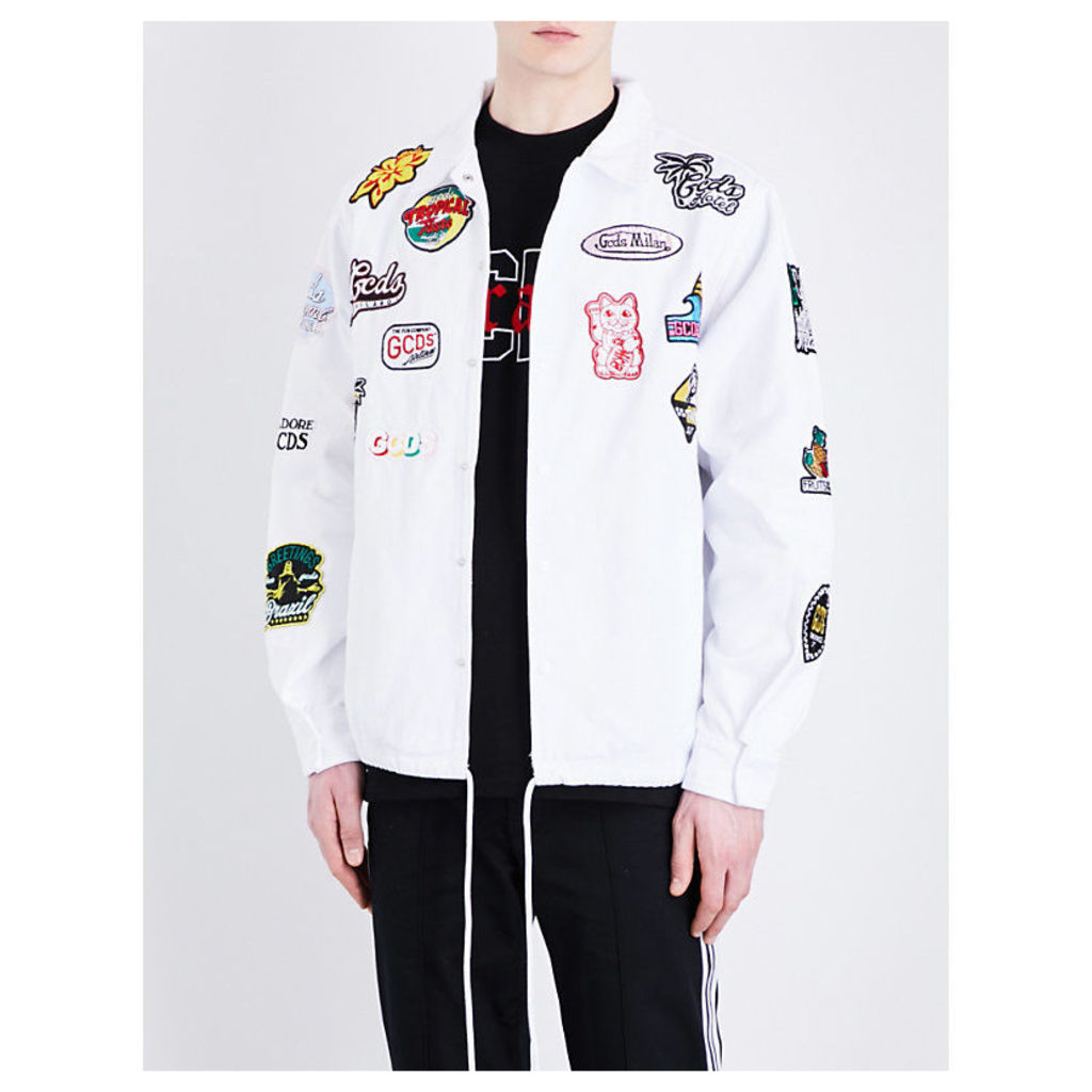 Embroidered-patch cotton-twill jacket
