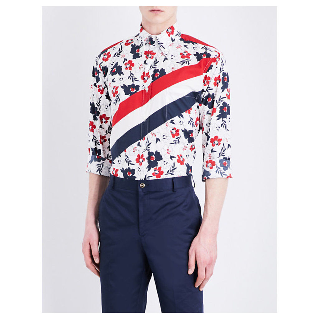 Floral and stripe-print classic-fit cotton shirt
