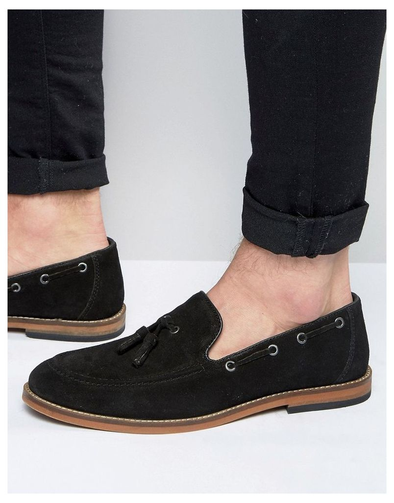 ASOS Tassel Loafers in Black Suede With Natural Sole - Black