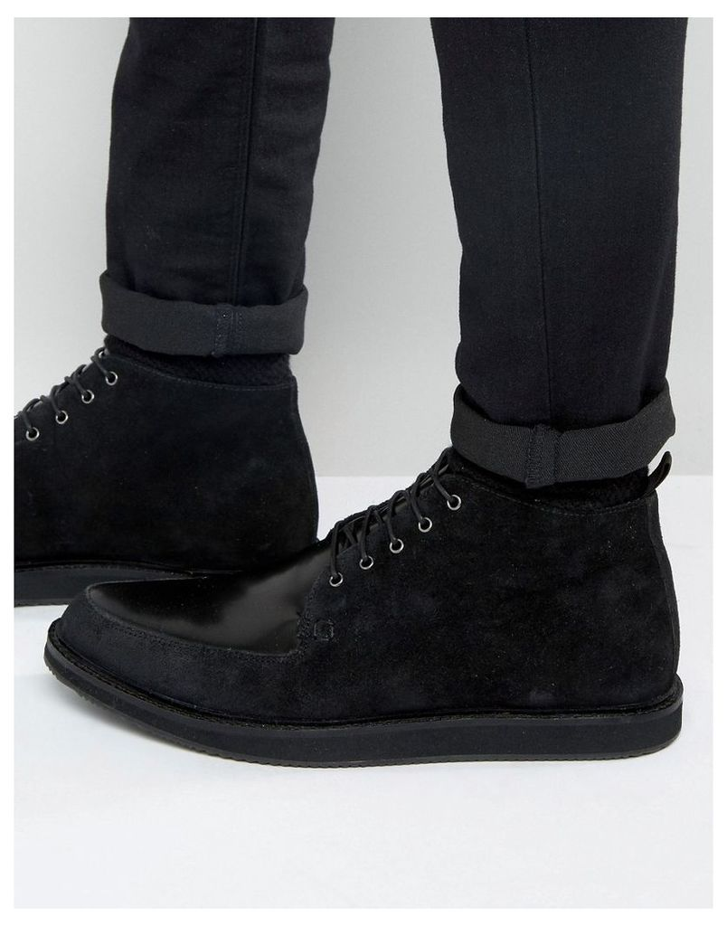 ASOS Brothel Creeper Boots in Black Leather and Suede Mix - Black