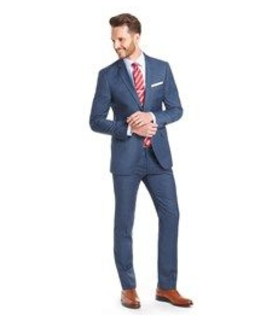 Men's Blue Sharkskin Extra Slim Fit Suit - Super 120s Wool