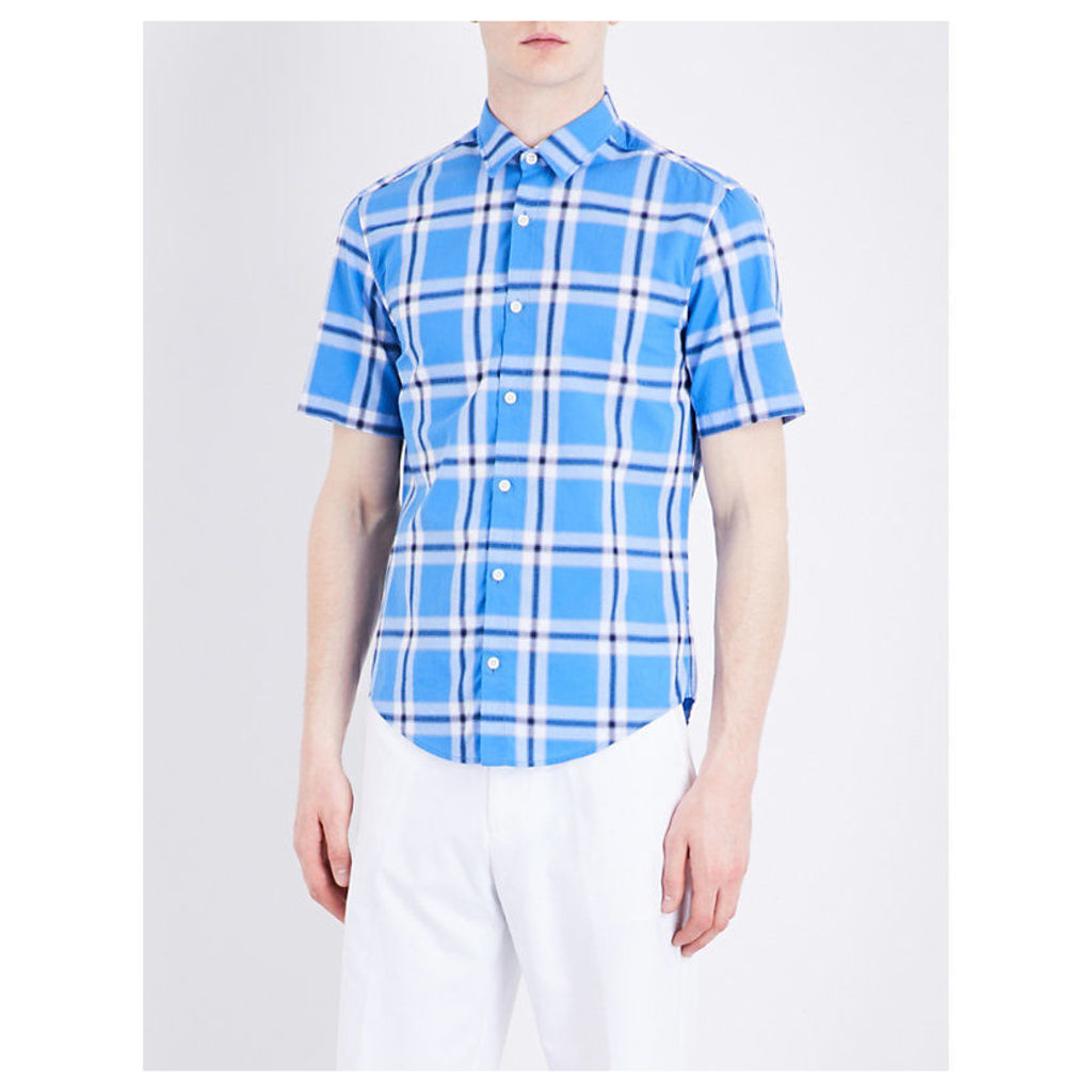 Checked short-sleeved cotton shirt