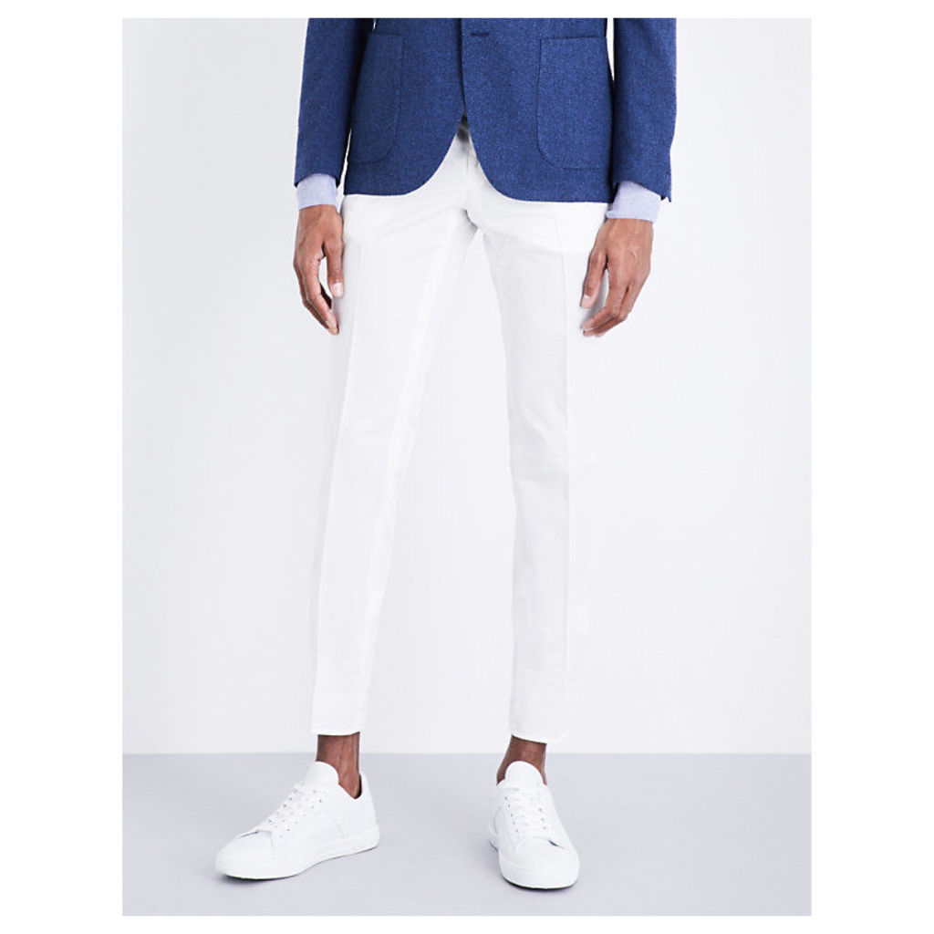 Regular-fit tapered cotton and silk-blend trousers
