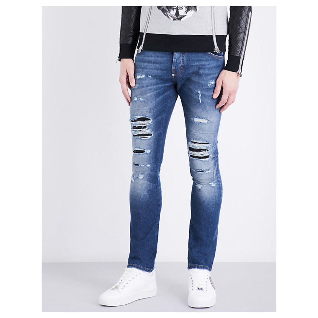 Slim-fit mid-rise distressed jeans