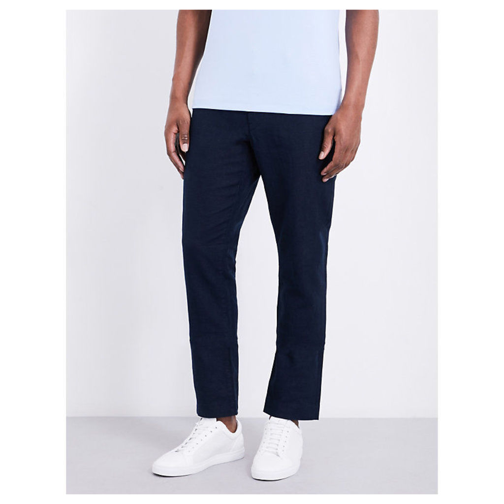 Slim-fit straight linen and cotton-blend trousers