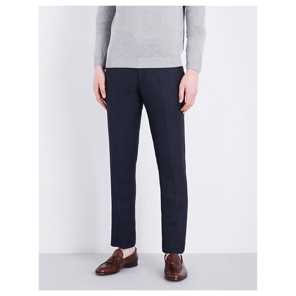 Regular-fit tapered linen-blend trousers