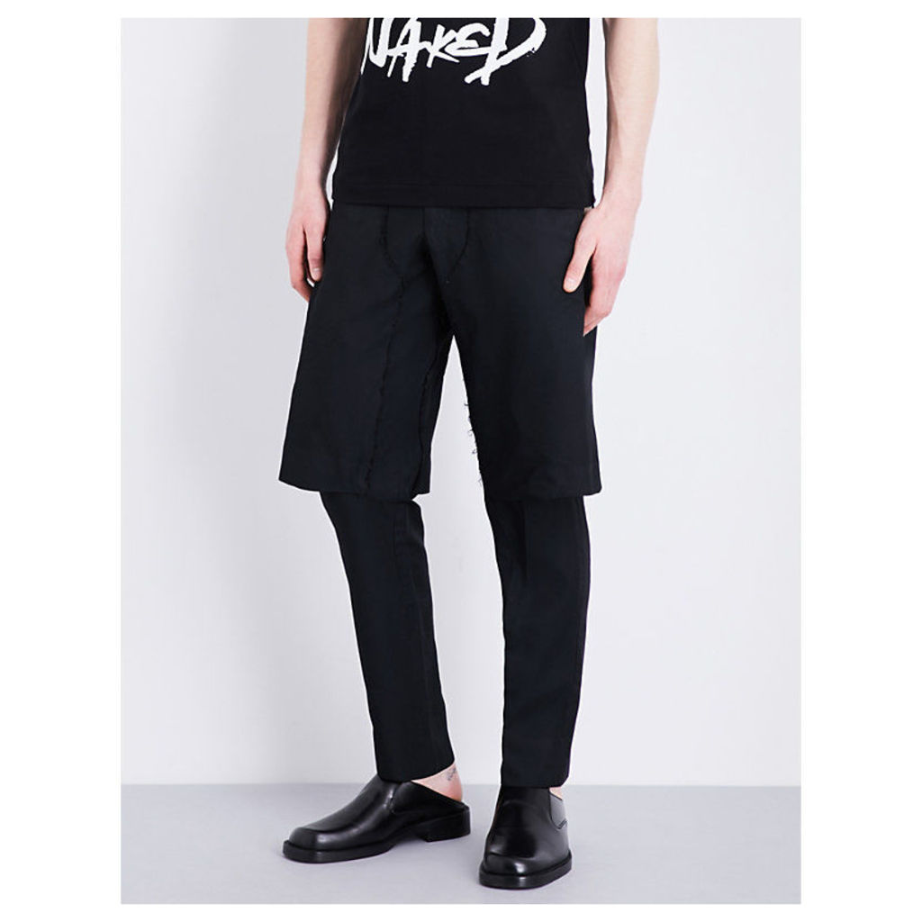 Layered mid-rise twill trousers
