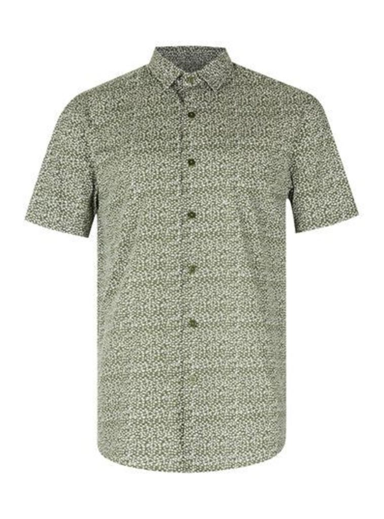 Mens Green Khaki Dotty Short Sleeve Casual Shirt, Green