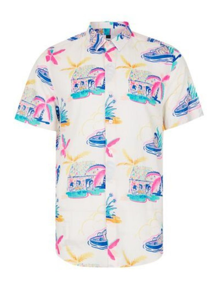 Mens White Abstract Palms Print Short Sleeve Casual Shirt, WHITE
