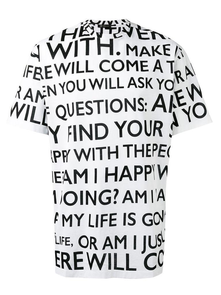 Versace Make it Happen print t-shirt, Men's, Size: Medium, White