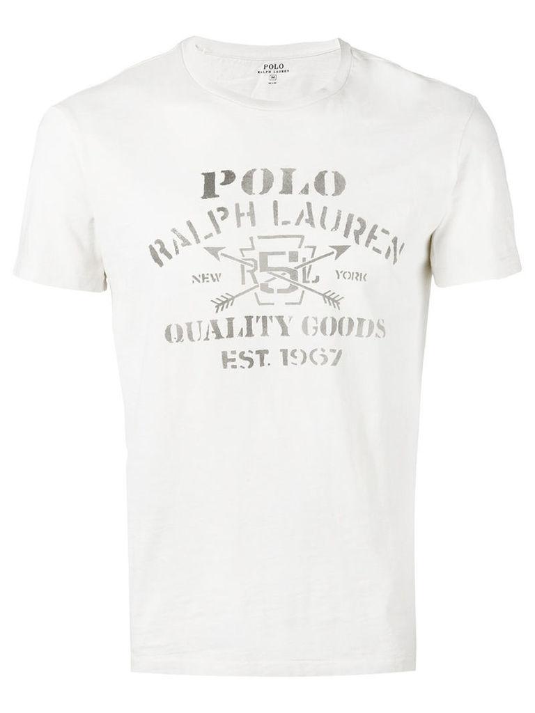 Polo Ralph Lauren front print T-shirt, Men's, Size: Medium, Nude/Neutrals