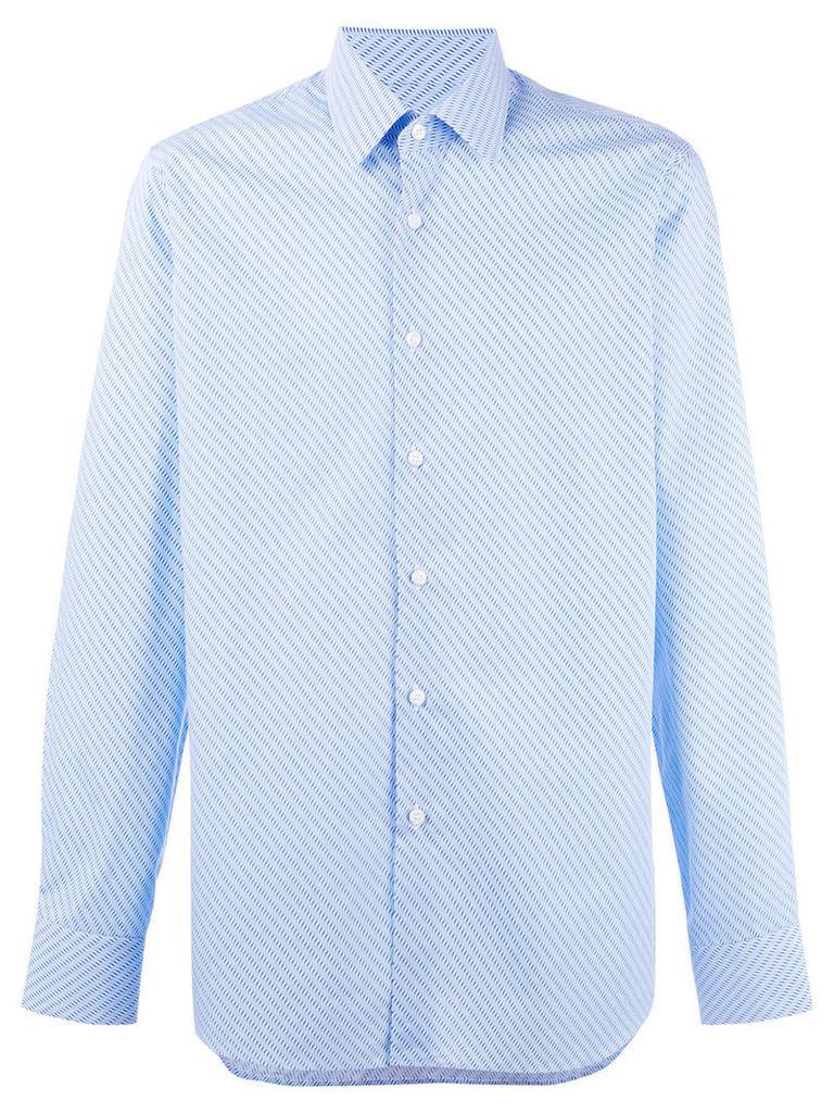 Prada diagonal stripes shirt, Men's, Size: 38, Blue