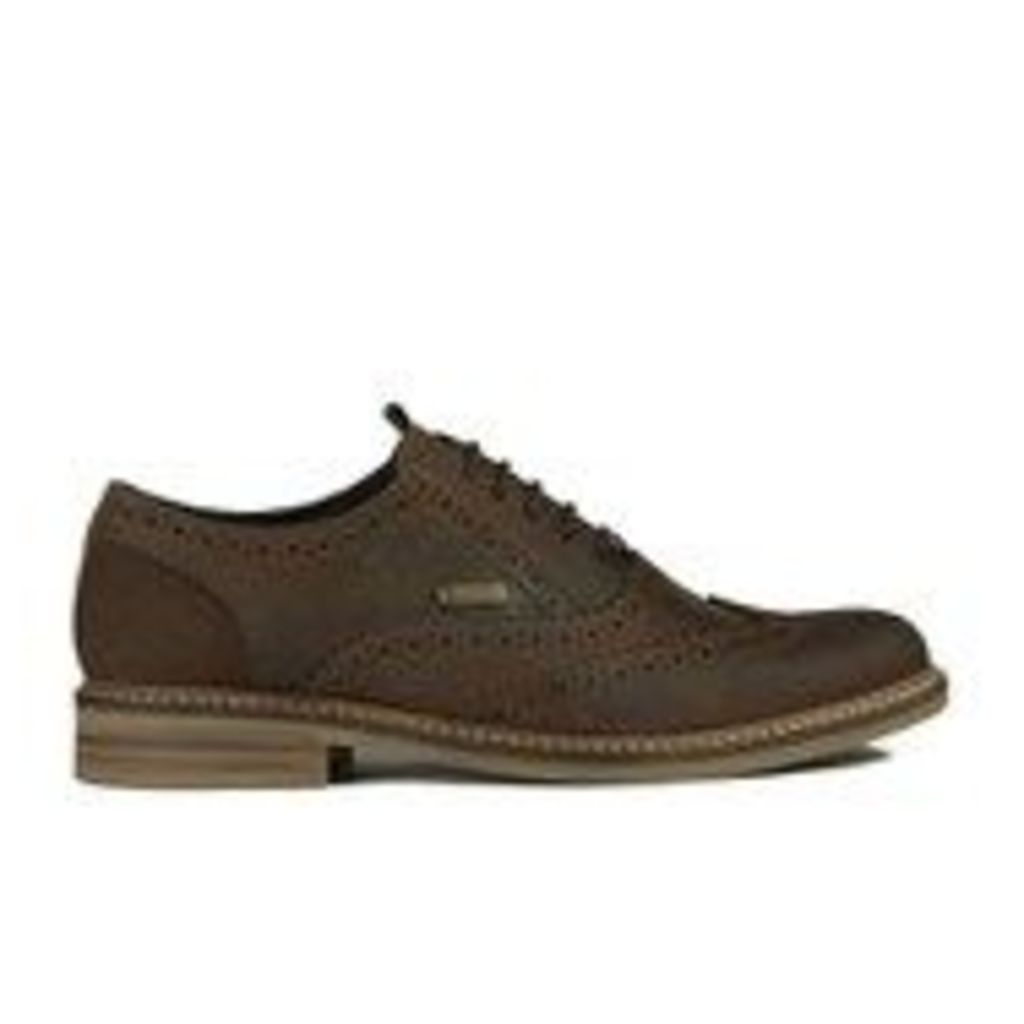 Barbour Men's Redcar Leather Oxford Derby Brogues - Dark Brown - UK 9