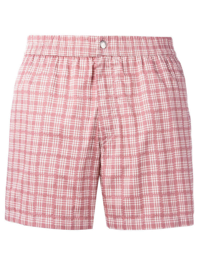Brioni checked swimming shorts, Men's, Size: XXL, Pink/Purple