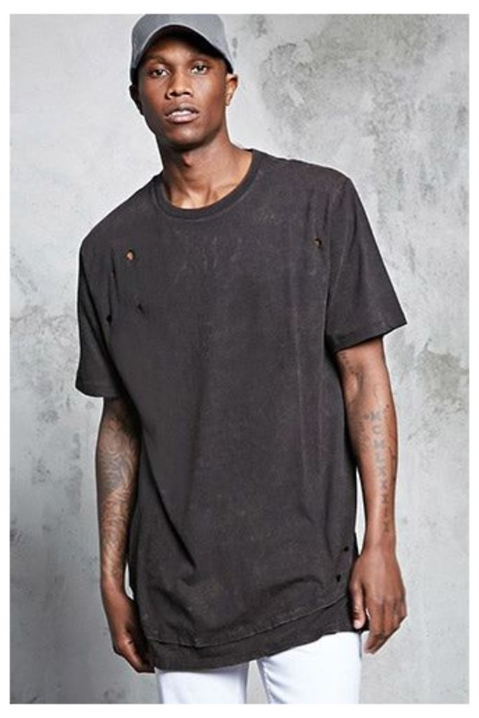 Distressed Crew Neck Tee