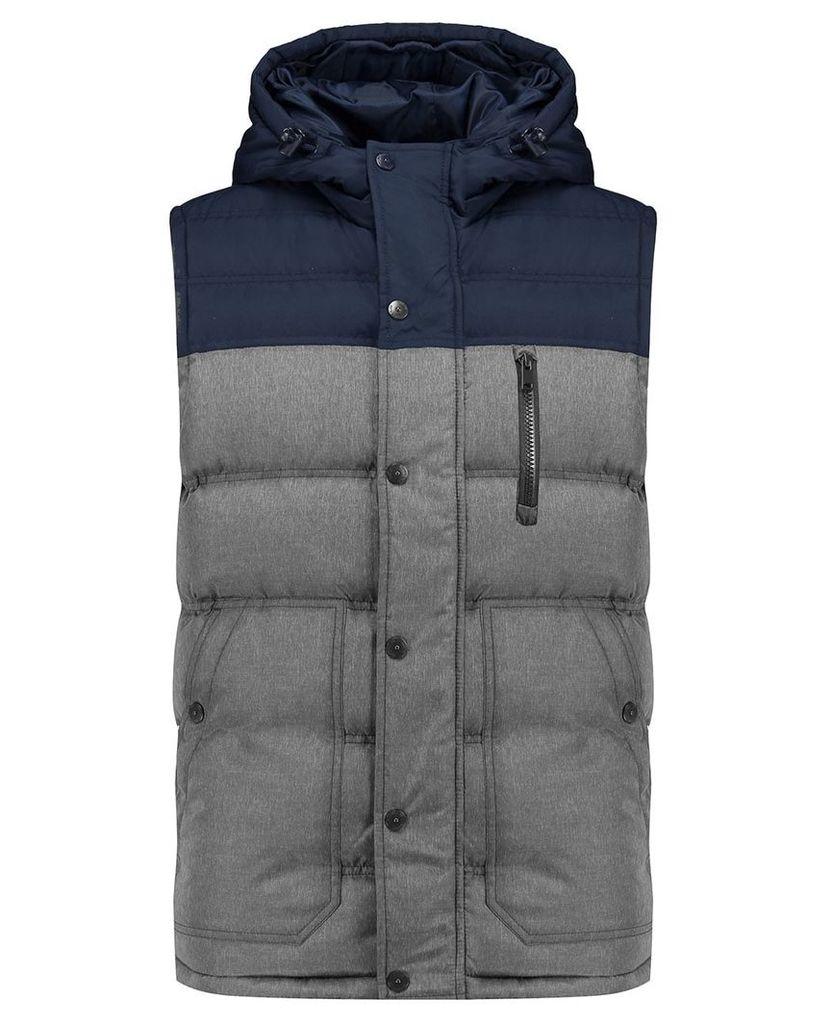 Men's Blue Inc Dark Grey Contrast Panel Sleevless Gilet, Grey