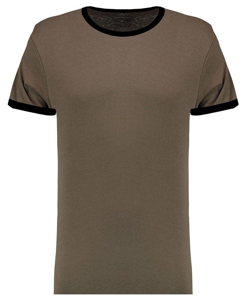 Men's Blue Inc Khaki With Black Basic Ringer Crew T-shirt, Khaki