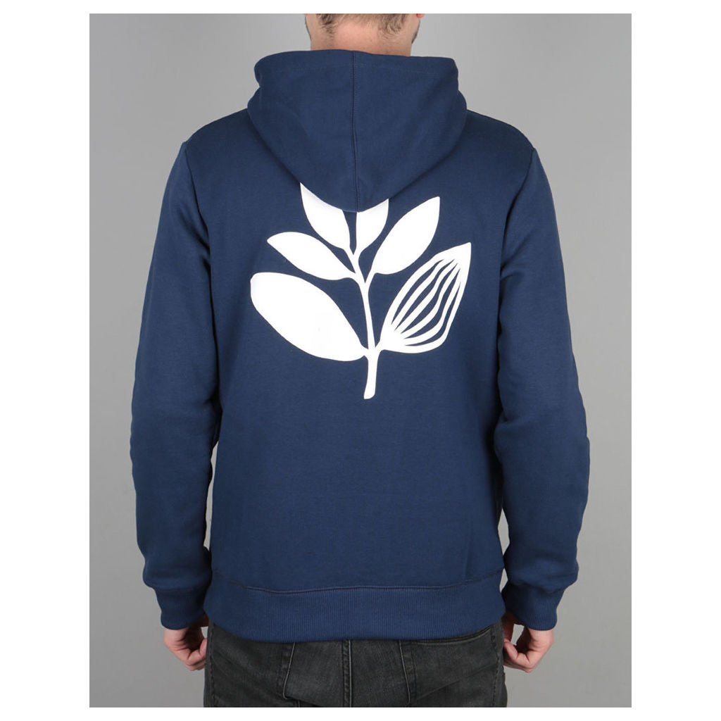 Magenta Plant Pullover Hoodie - Navy (L)