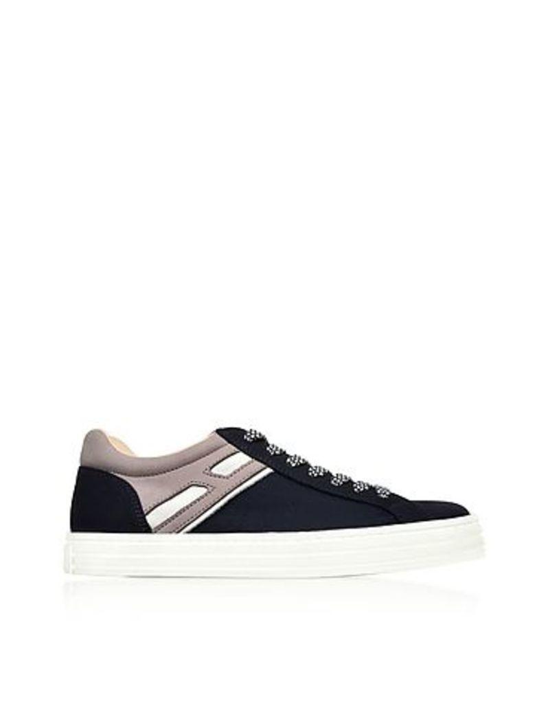 Hogan - R141 Dark Blue Nylon and Nubuck Low Top Men's Sneakers