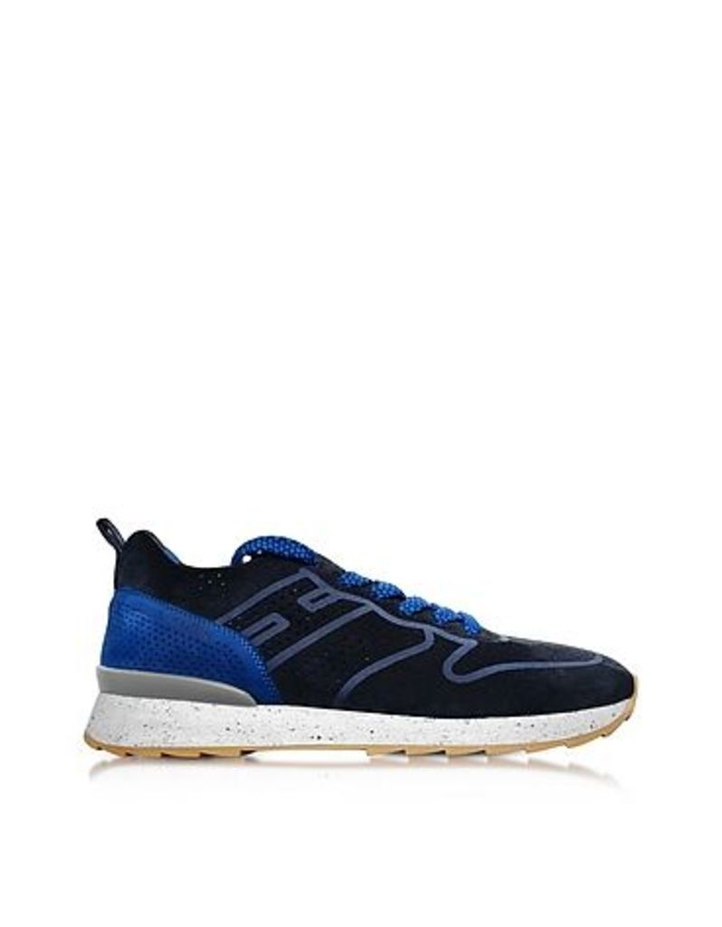 Hogan - R261 Blue Perforated Suede Mid Top Men's Sneakers