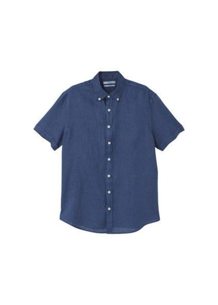 Slim-fit short-sleeve linen shirt