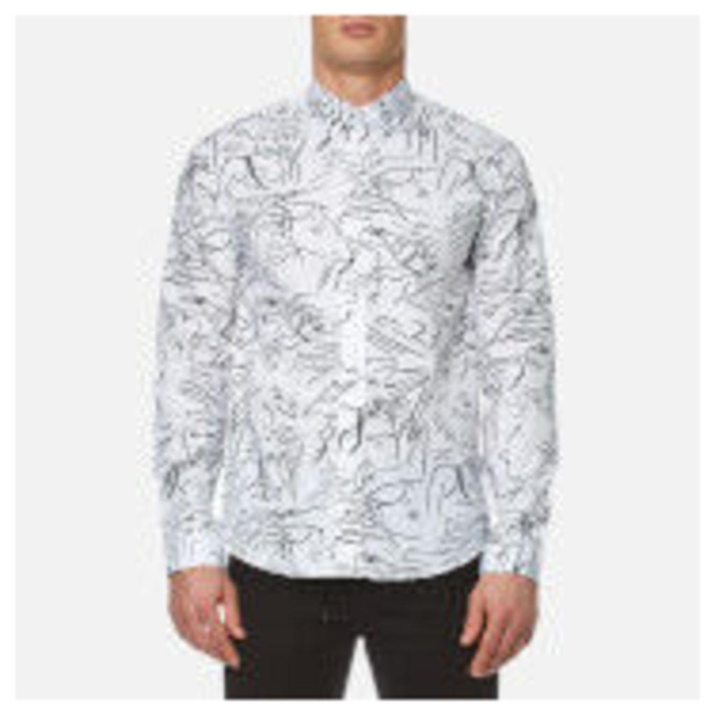 KENZO Men's Cotton All Over Print Long Sleeve Shirt - White - XL