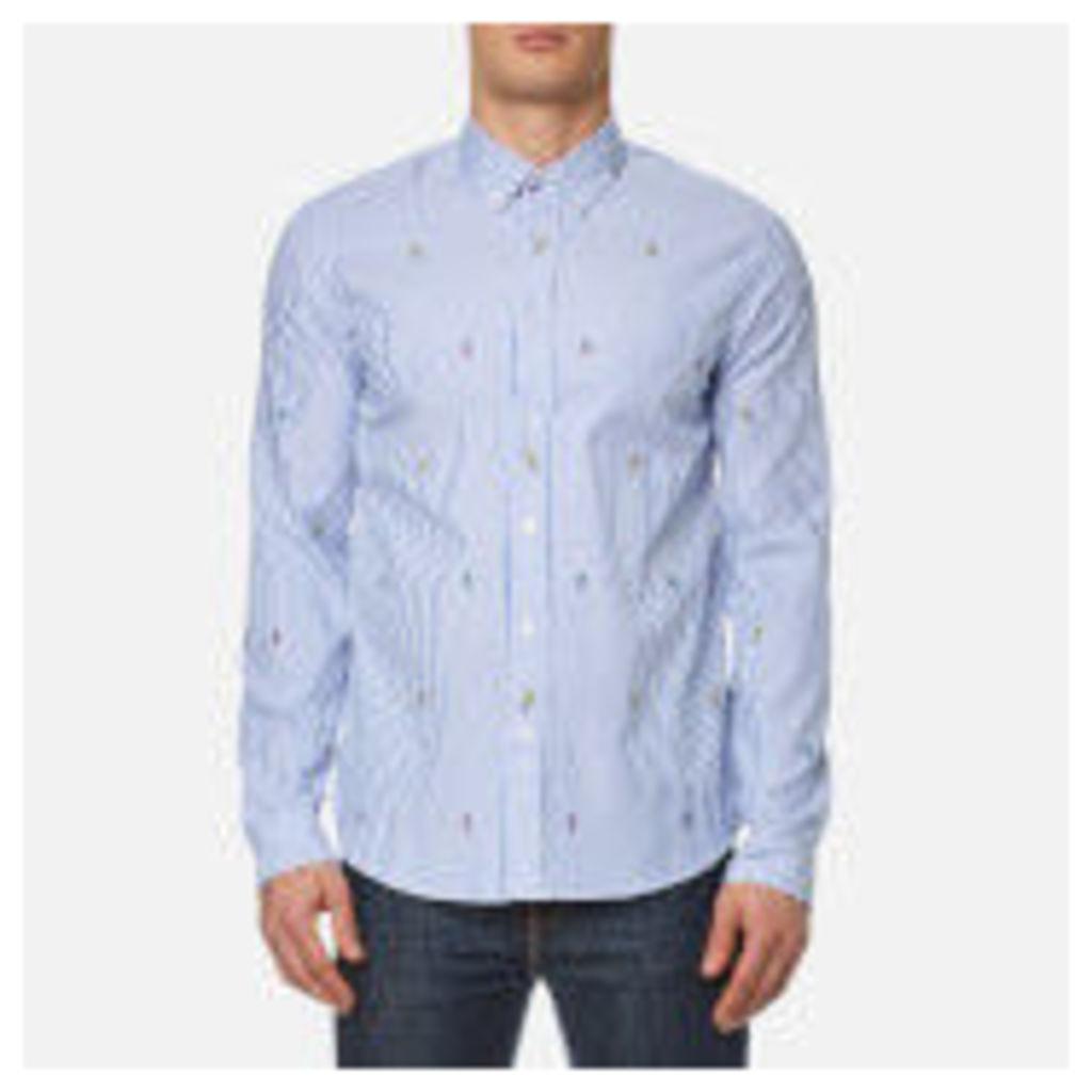 KENZO Men's Cartoons Striped Oxford Shirt - Perriwinkle - L