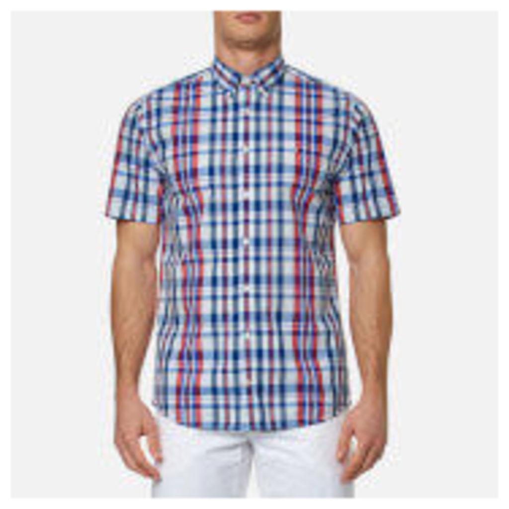 Tommy Hilfiger Men's Lester Check Short Sleeve Shirt - Blue/Apple Red - XL